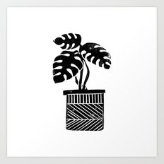 Monstera cheese plant house plant black and white minimal modern linocut art Art Print