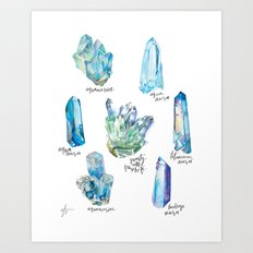 Crystal Collection- Blues Art Print