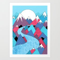 Blue Sky River Art Print
