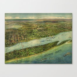 Panoramic view of West Palm Beach, North Palm Beach and Lake Worth, Florida (1915) Canvas Print