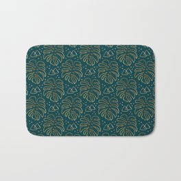 Gold Monstera on Teal Bath Mat