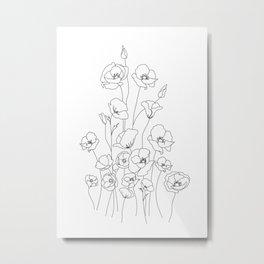 Poppy Flowers Line Art Metal Print