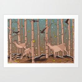 Birch Trees with Birds And Deer Art Print