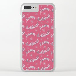 Happy Holidays Pattern Clear iPhone Case