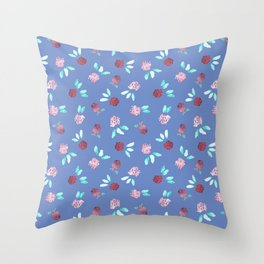 Clover Flowers Pattern on Periwinkle Blue Throw Pillow