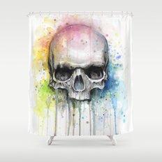 Skull Rainbow Watercolor Painting Skulls Shower Curtain