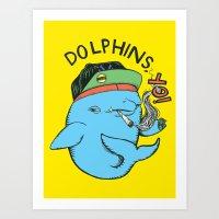 Dolphins, YO (colour) Art Print