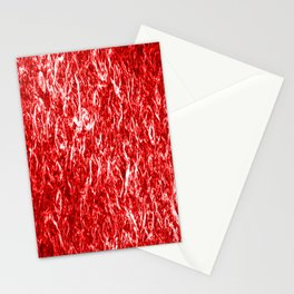 Vertical metal texture of bright highlights on red waves. Stationery Cards