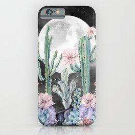 Desert Cactus Full Moon Succulent Garden Night Sky iPhone Case