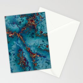 Blue fantasy marble Stationery Cards