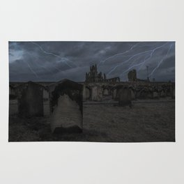 Whitby Abbey darkness Rug