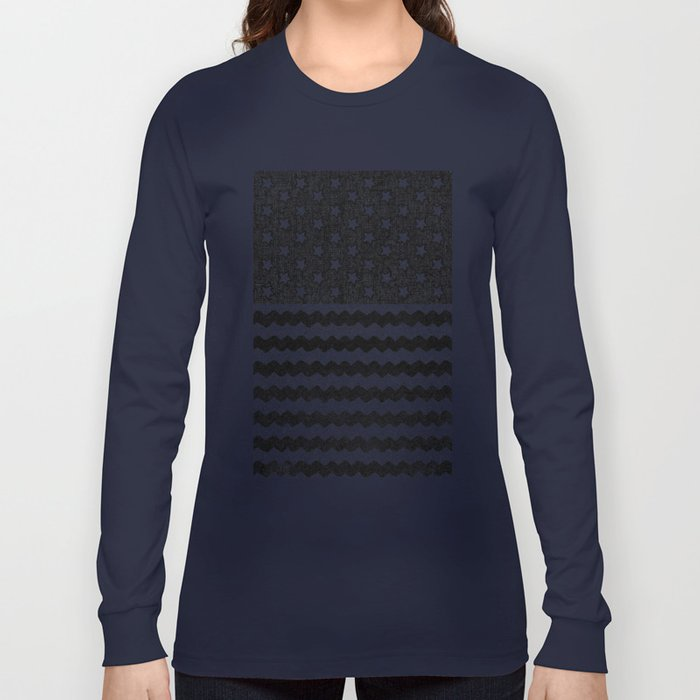 Black Zig Zag Flag Long Sleeve T-shirt