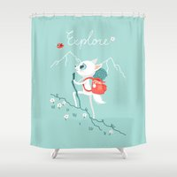 explore Shower Curtains featuring Explore by Freeminds