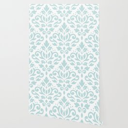 Scroll Damask Lg Pattern Duck Egg Blue on White Wallpaper