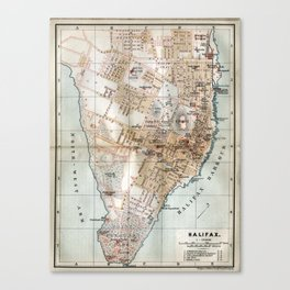 Vintage Map of Halifax Nova Scotia (1890) Canvas Print