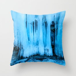 Ice curtain of the lake Baikal Throw Pillow