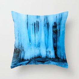 Ice curtain of the lake Baikal Throw Pillow