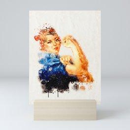 Rosie Riveter watercolor Mini Art Print