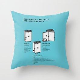 Buchbinden – Merkmale Broschur und Buch (in German) Throw Pillow