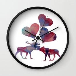 Moose love art Wall Clock