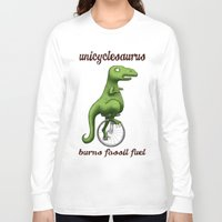 pocket fuel Long Sleeve T-shirts featuring Unicyclesaurus: Burning Fossil Fuel by Nomadic Concepts/Julia Shahin Collard