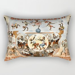 Signorita Galetti and her performing monkeys vintage poster Rectangular Pillow