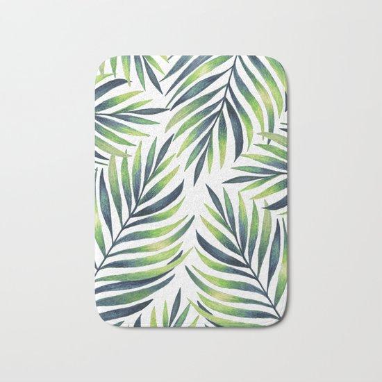 Tropical leaves. White pattern Bath Mat