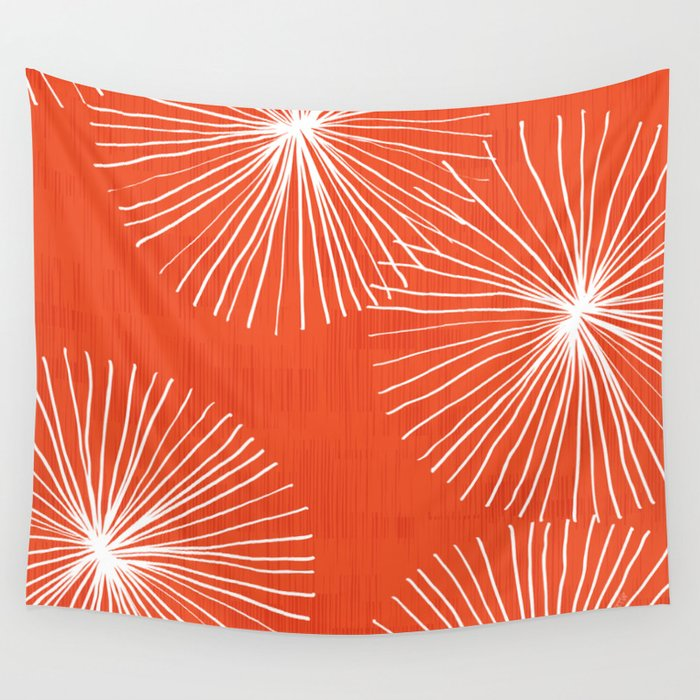 Dandelions in Red by Friztin Wall Tapestry