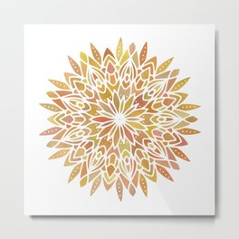 Mandala Desert Copper Gold Metal Print