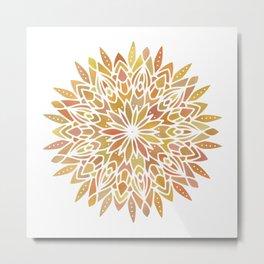 Mandala Desert Copper Gold Metal Print