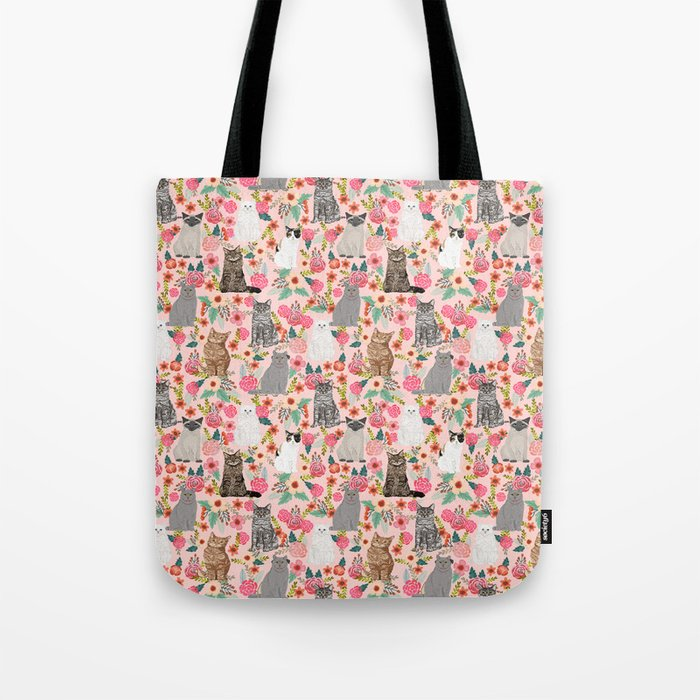 Cat Flowers cute spring summer garden cat lady pattern gift for cat person cat breed pet portraits  Tote Bag