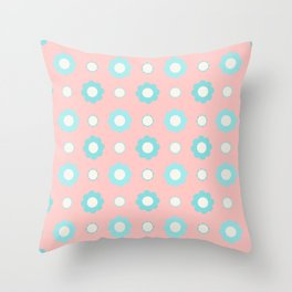Blue and white flowers over pink Throw Pillow