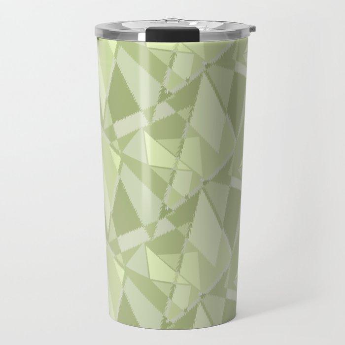Abstract geometric. Shades of pistachio. Travel Mug
