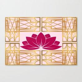 Art Deco Retro Lotus (cerise) Canvas Print