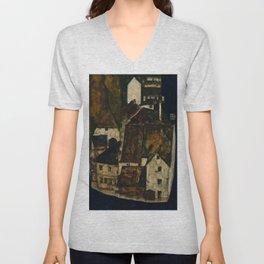 "Egon Schiele ""Dead City III (City on the Blue River III)"" Unisex V-Neck"