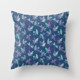 Wing it - blue and purple Throw Pillow