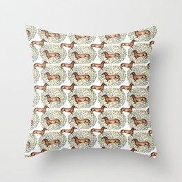 Dachshund Sausage Dog Print Botanical Throw Pillow