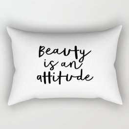 Beauty is an Attitude black-white typography poster design modern canvas wall art home decor Rectangular Pillow
