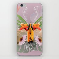 surfboard iPhone & iPod Skins featuring Surfing, sunglasses with surfboard  by nicky2342