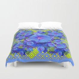 Lime-Blue Morning Glories Pattern Art Duvet Cover
