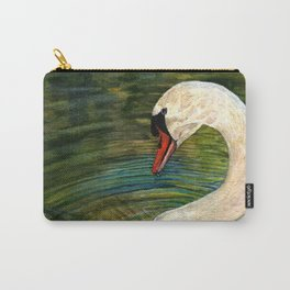 Swan Forming Ripples in a Golden Glow Carry-All Pouch