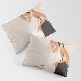 Minimal Woman with a Palm Leaf Pillow Sham