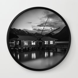 Black and White China Boathouse Wall Clock