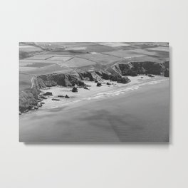 Black and white aerial view of Bedruthan Steps Beach Metal Print