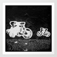 bikes Art Prints featuring bikes by Lesley Bourne