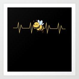 Bee Bumblebee Heart Rate Kids Design Art Print