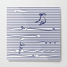 Dark blue stripes (Ribbon) Metal Print