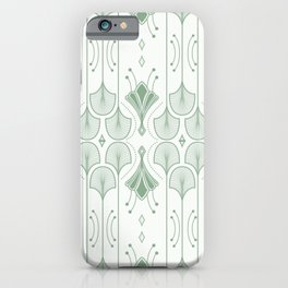 Lily Lake - Retro Floral Pattern Muted Green iPhone Case