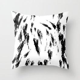Black and White Brush Strokes Throw Pillow