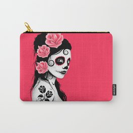 Pink Day of the Dead Sugar Skull Girl Carry-All Pouch